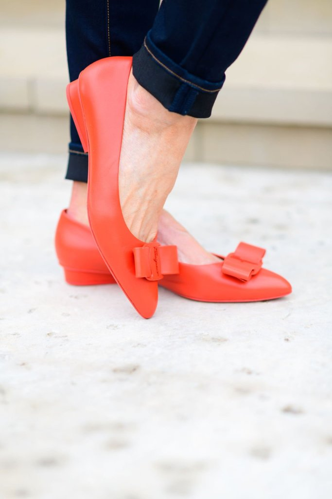 orange shopbop viva flat shoes