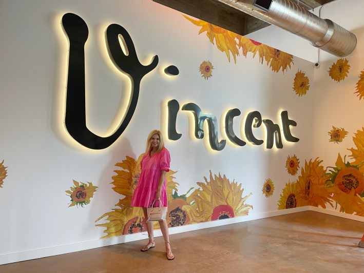 Tanya Foster in front of Vincent wall