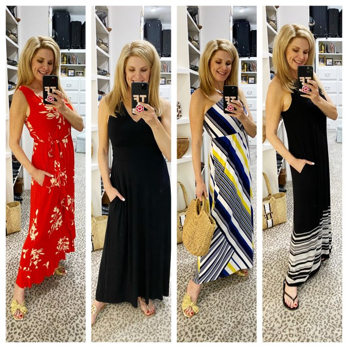 four pictures of tanya foster in soma maxi dresses