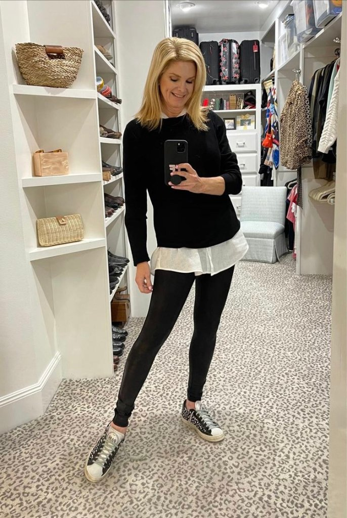 top 10 products tanya foster in spanx faux leather leggings p448 john low top sneakers and tunic with sweater