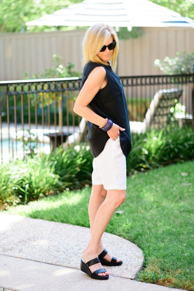 tanya foster in chico's linen blouse and linen white shorts with cecelia ny shoes