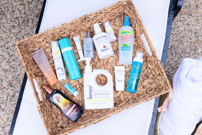 Basket of different sunscreens