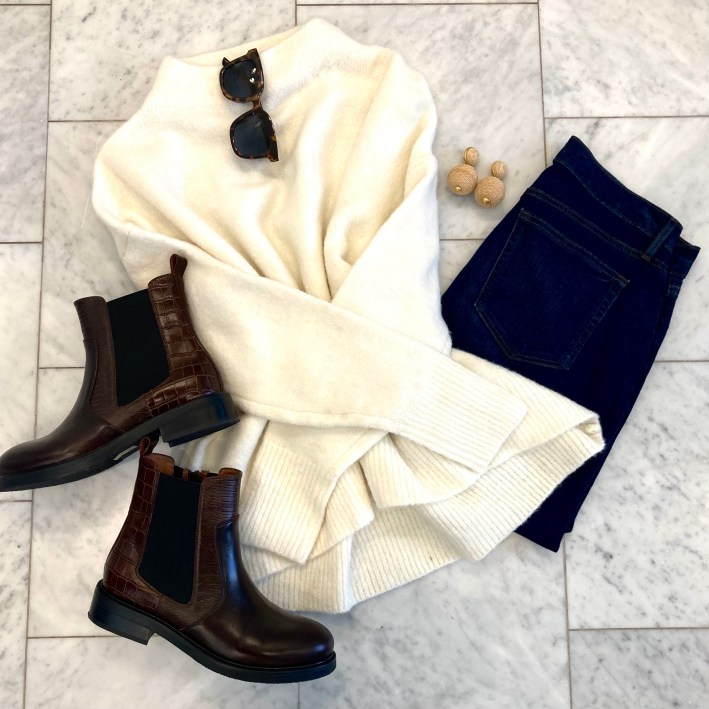 amazon white mock neck sweater with spanx LOFT jeans and jeffrey campbell edmond booties