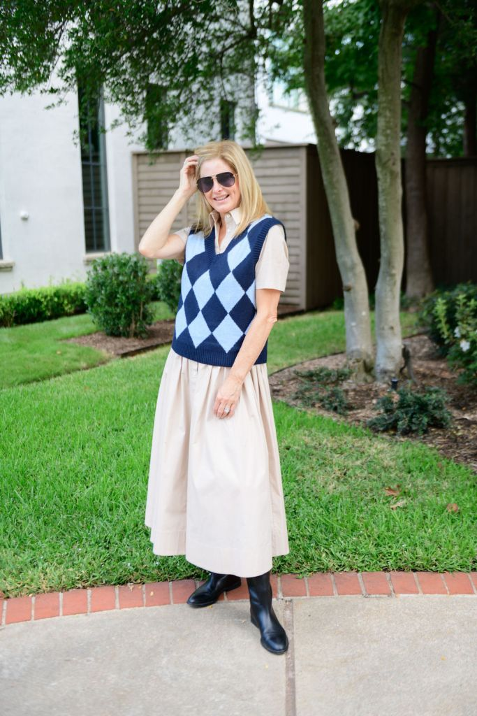Tanya Foster wearing Staud dress with bp argyle sweater vest