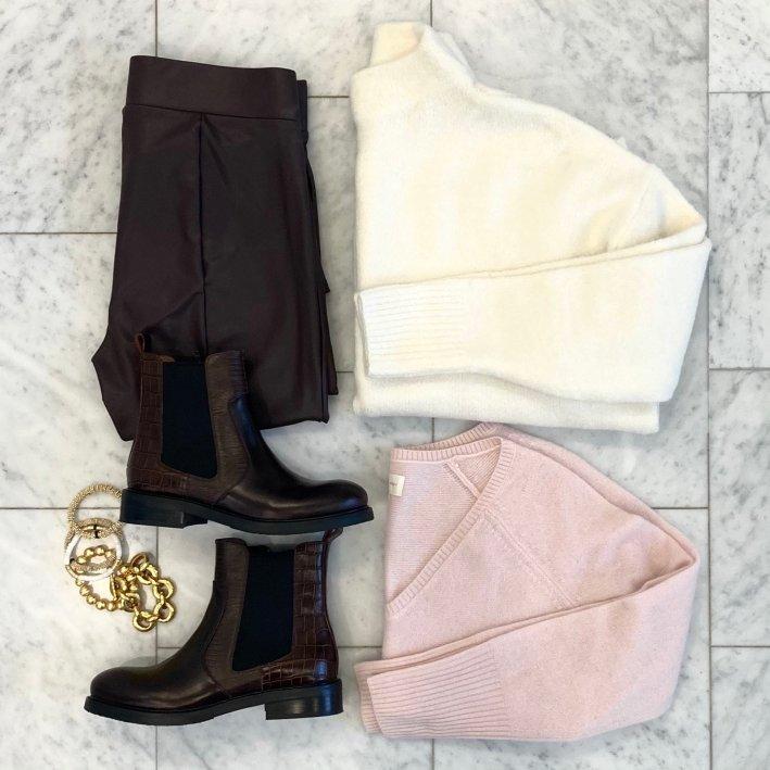 LOFT sweater amazon mock neck sweater LOFT faux leather leggings jeffrey campbell edmond booties allie+bess bracelets hazen & co. bracelets julie vos bracelet