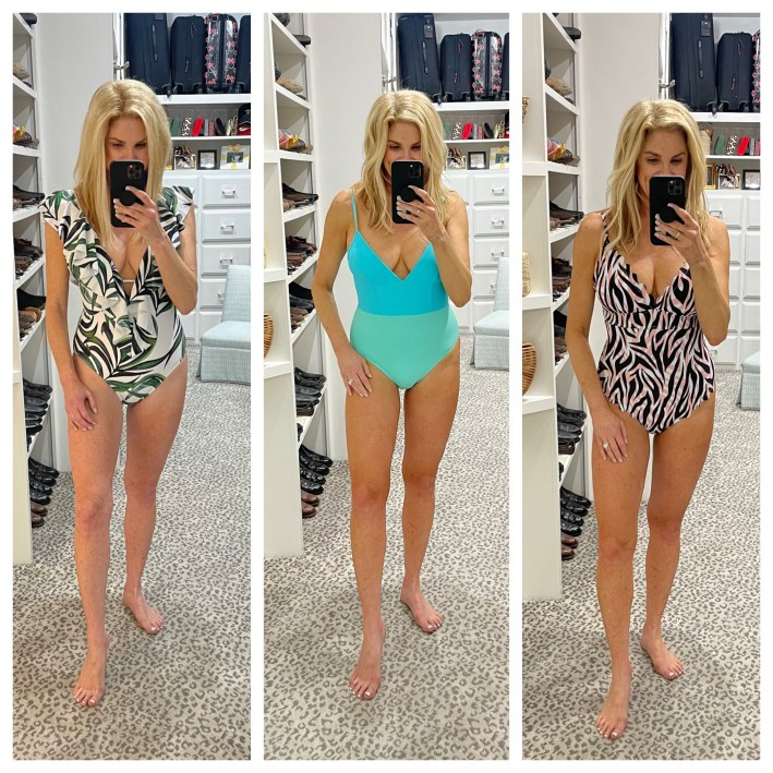 tanya foster in three different swimsuits