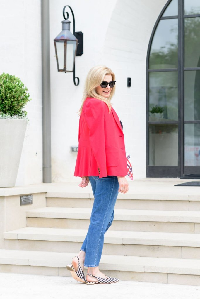 Tanya Foster in talbots jeans, L'amour black shirt, red blazer, sling back shoes and scarf belt