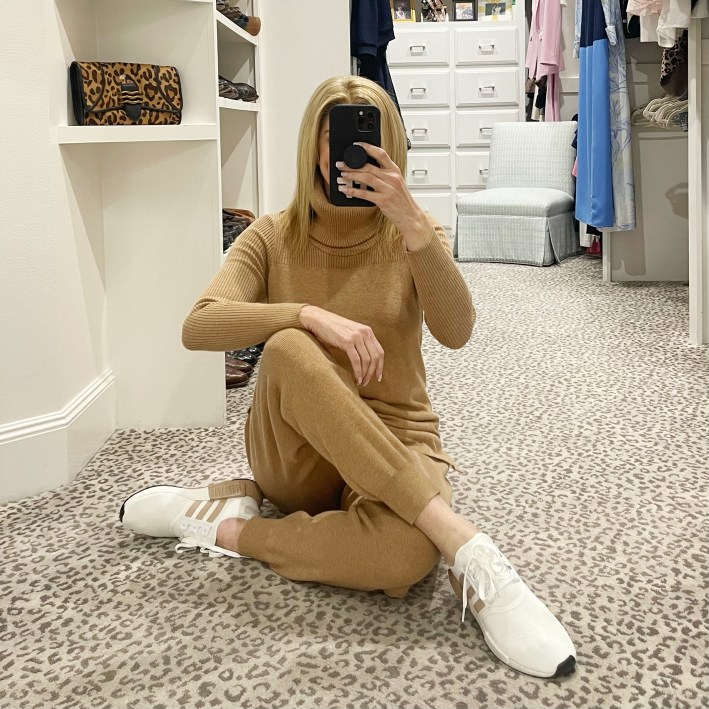 tanya foster wearing chico's camel cashmere cotton loungewear set and nordstrom NMD R1 sneakers