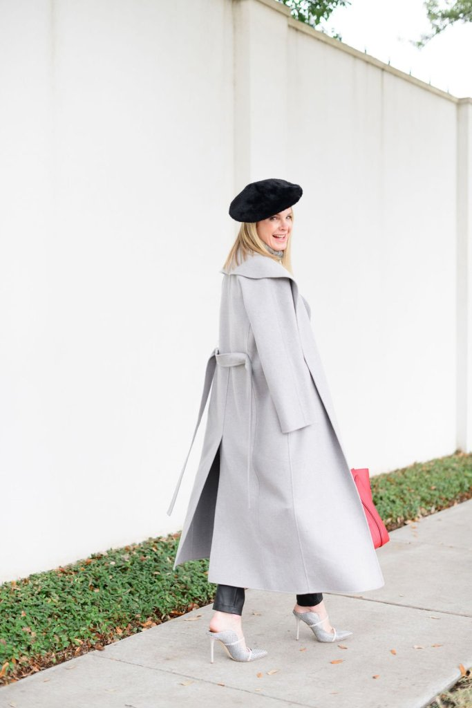 Tanya foster wearing chico's faux leather pants, amazon gray sweater hermes red bag and beret with gray coat