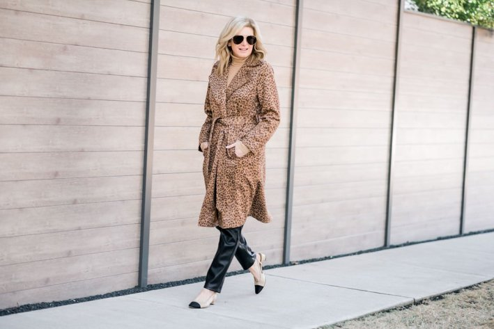 tanya foster in chico's camel ribbed turtleneck faux leather slim pants chico's leopord print faux-suede trench coat