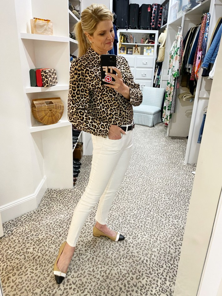 Tanya Foster wearing white jeans with talbots shoes and talbots animal print blouse