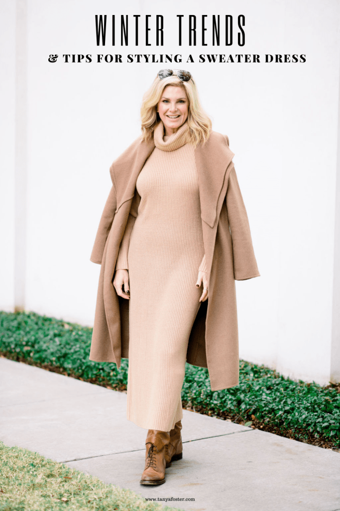TAnya foster in camel color sweater dress with chico's double collar wool blend wrap coat and boots winter trends and tips for styling a sweater dress