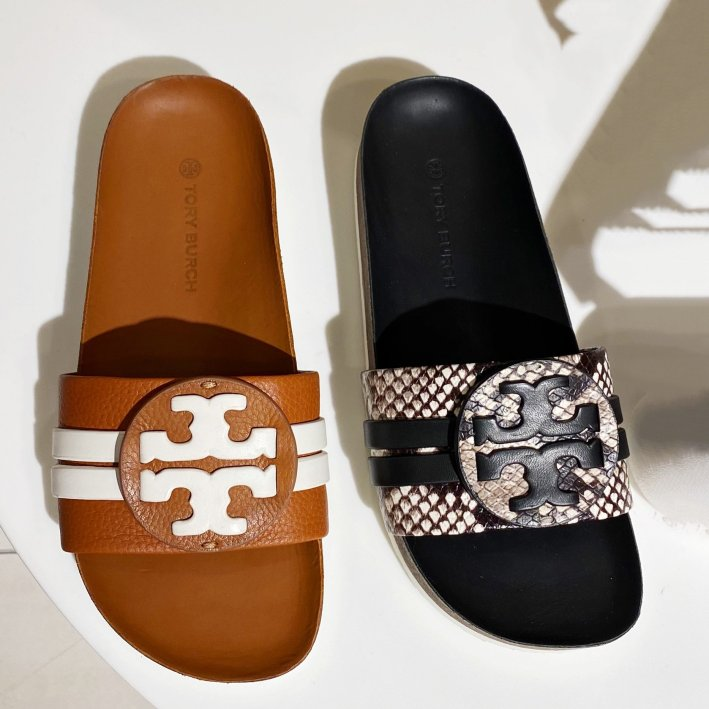 tory burch leigh slide sandals in brown and black