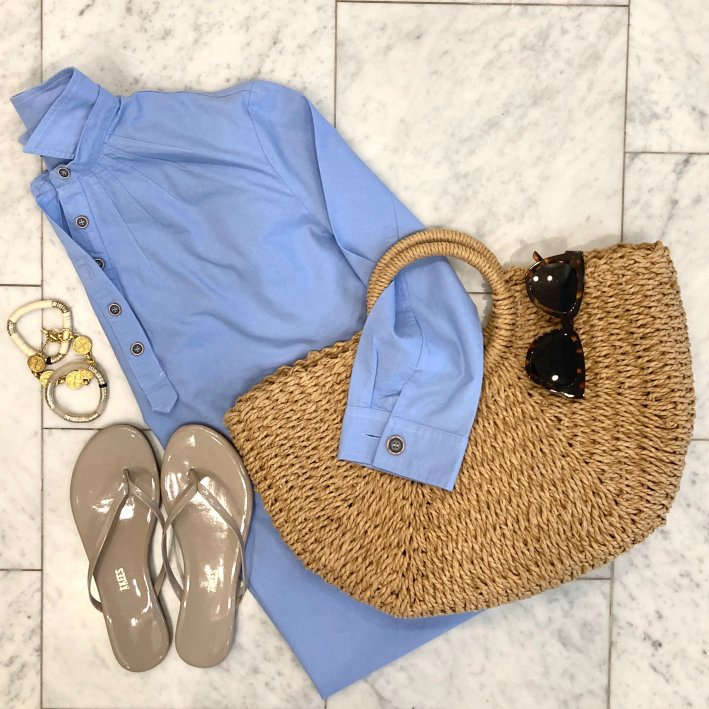 tuckernuck blue dress with straw beach bag tkees sandals tuckernuck sunglasses allie + bess bracelets and julie vos bracelets