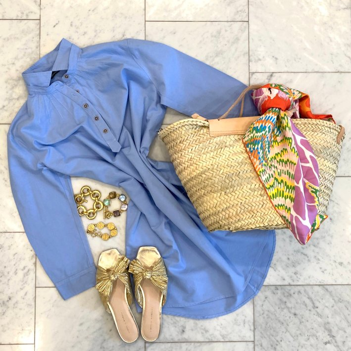 tuckernuck dress with daphne knot gold sandals julie vos bracelets and mango bag with hermes scarf
