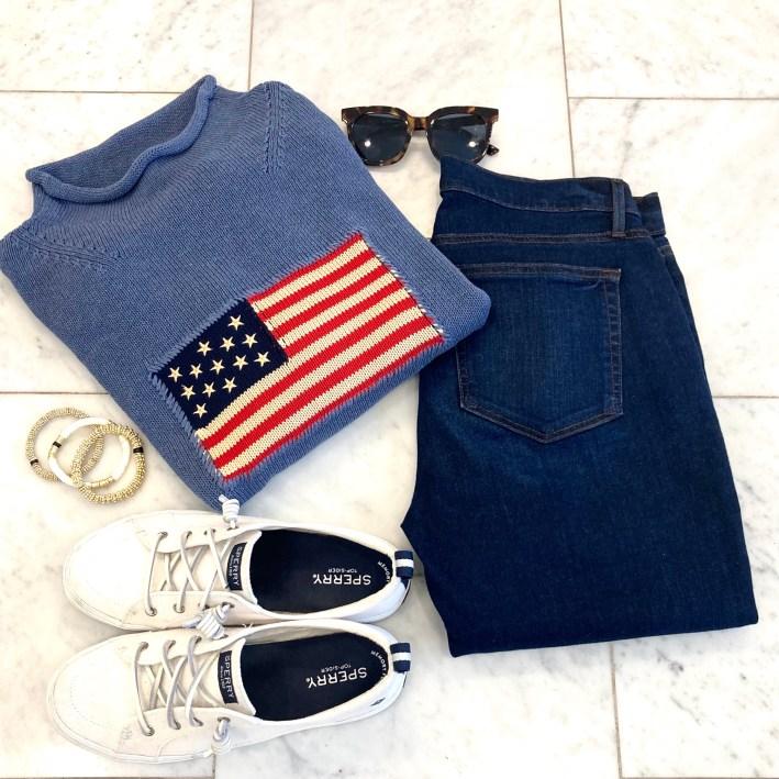 tuckernuck american flag sweater LOFT jeans sperry sneakers allie+bess bracelets tuckernuck sunglasses