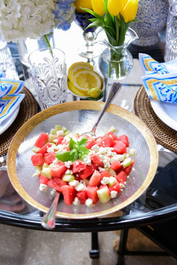 watermelon and feta salad in a vietri serving dish