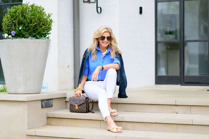 tanya foster wearing white jeans and talbots button up