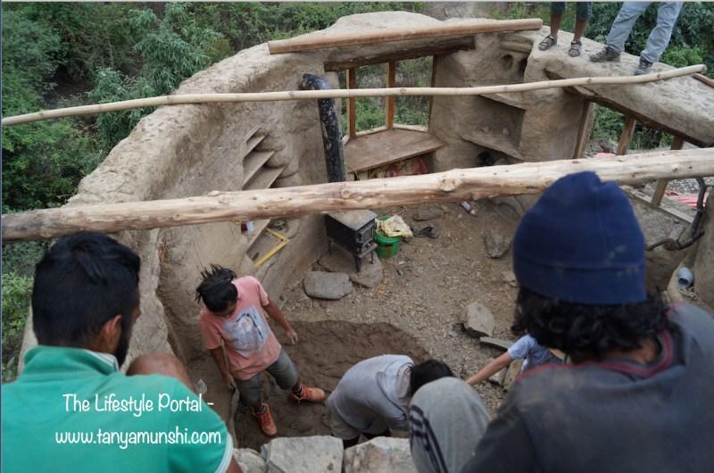 Cob Car Cottage under construction