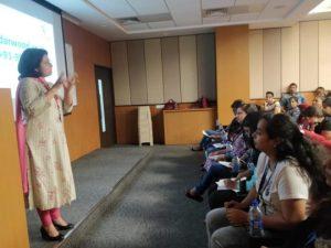 Adv. Ritu Advekar conducting a workshop