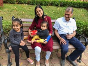 Mumma and Papa with their grand daughters, Savannah ( aged 4.5 ) and Rumi ( age 1.5 ) (2019 ). Photo courtesy: Seema Manchanda