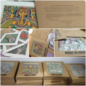 Handpainted madhubani painted wedding invite and giveaway. Curated by: Truly Tribal