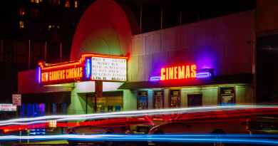 time lapse photography of car lights in front of cinema