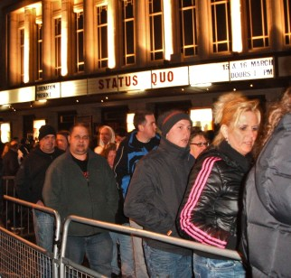 Queuing to get in around 7pm.