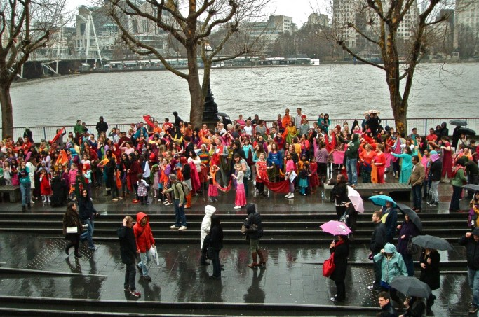 Outside in the rain for the final dance number