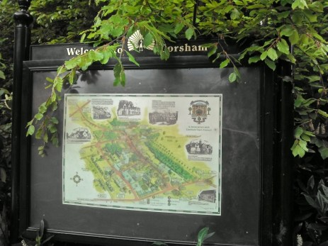 The map of Corsham Village in the churchyard car park..