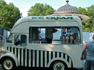 The olde ice cream van which sell posh ices and not Mr Whippy soft cones.