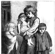 drawing of poor children