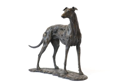 Front quarter right view of greyhound sculpture