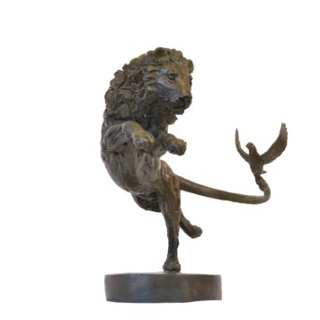 Lion and Dove - Tanya Russell Animal Sculpture