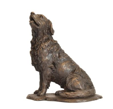 Retriever Sculpture in Bronze Resin looking up and to the right