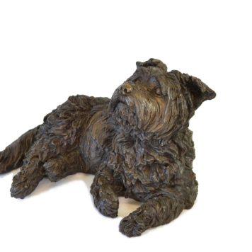 Yorkshire Terrier Lying Sculpture 1 - Tanya Russell Dog Sculpture