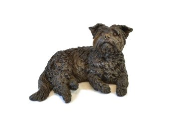 Yorkshire Terrier Lying Sculpture - Tanya Russell Dog Sculpture