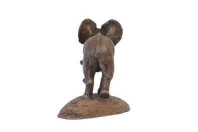 Rear view of Baby Elephant sculpture by Tanya Russell in foundry bronze