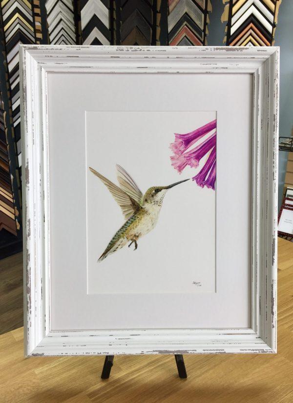 hummingbird print in white frame