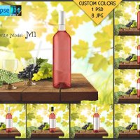 Bottle M1BG03 Wine Bottle with Rose Wine on by TanyDiDesignStudio