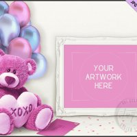 Valentine Teddy Bear Pink Balloons Envelope by TanyDiArtDesign