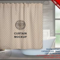 Square Bathroom Curtain PSD Styled Mockup BC5 by TanyDiArtDesign