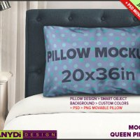 Queen Pillow-Case Photoshop Styled Mockup by TanyDiArtDesign