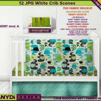 Crib Bedding Photoshop Fabric Mockup 3CBS2 White crib Full