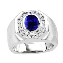 Oval Tanzanite Ring in 14k White Gold