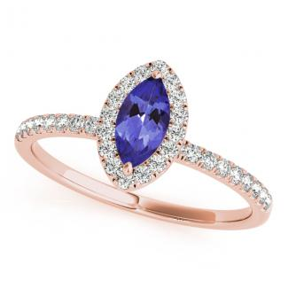 0.32 Carat Marquise Tanzanite Engagement Ring in 14k Rose Gold