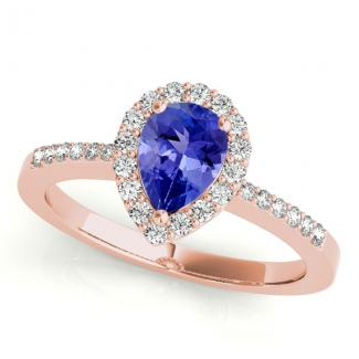 1.70 Carat Pear Tanzanite Engagement Ring in 14k Rose Gold