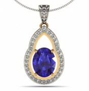 1.80 carat oval Tanzanite pendant 14k white gold