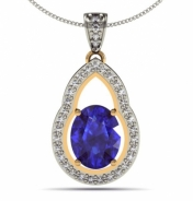 Oval Shape Tanzanite Pendant in 14k white gold