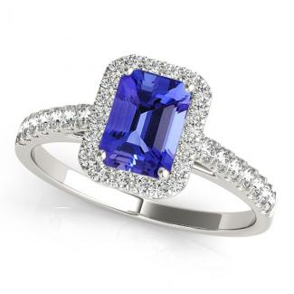 Emerald Cut Tanzanite Wedding Ring